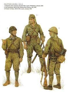Filipinas y Birmania, 1944-45 1: Sargento, tanquista, 2da Division Acorazada; Luzon, Filipinas, enero de 1945 2: Teniente segundo, 54° Division de Infanteria; río Sittang, Birmania, julio de 1945 3: Soldado de 1ra clase, 10ma Division de Infanteria; Luzon, Filipinas, enero de 1945