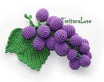 Crochet Fruit - Grapes - Seasons - Eco-friendly Decoration - Decor - Play food - crochet toys