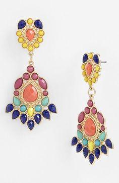 Love the colors. Paneca Tribal Drop Chandelier Earrings