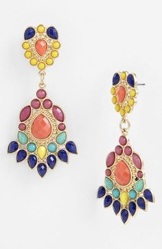 Love the colors. Paneca Tribal Drop Chandelier Earrings