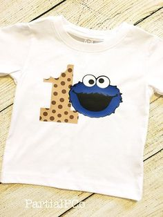 Cookie Monster First Birthday Shirt smash cake 1 tough cookie, Sesame Street, Elmo