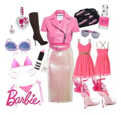 """barbie obsession"" by jjbear on Polyvore featuring Essentiel, Wildfox, Topshop, Moschino and Sergio Rossi"