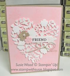 Stampin' Up!- Here is an elegant card using the 'Bloomin' Love' set, along with the coordinating Bloomin' Hearts Thinlits!