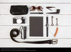 Travel concept - set of cool men's stuff, flat lay inspiration