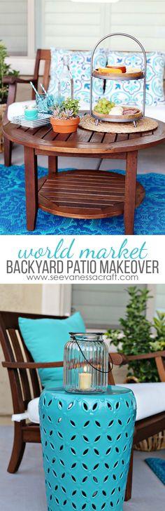 World Market Aqua Backyard Patio Makeover - a perfect outdoor entertaining space for summer! #worldmarkettribe #ad