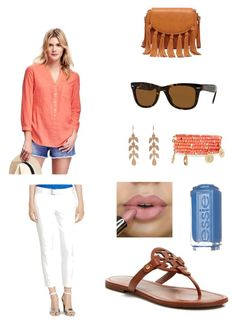 """just for fun"" by bostonhibiscus on Polyvore featuring Old Navy, Ralph Lauren, Tory Burch, Ray-Ban, Emily & Ashley, Irene Neuwirth, Essie and Sole Society"