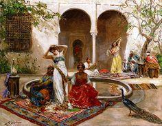 The Athenaeum - Dancing in the Harem Courtyard (Fabio Fabbi - ) History Of Dance, Arabian Art, Old Egypt, European Paintings, Jesus Pictures, Vintage Artwork, Classical Art, Ancient Art, Female Art