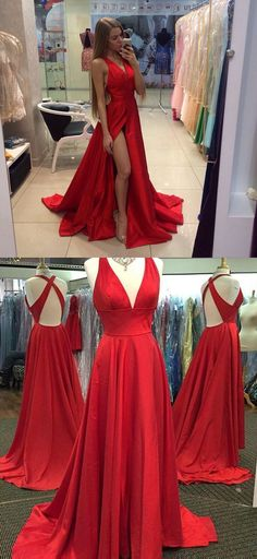 Look absolutely sexy and charming in this red gown . Featuring the deep v neck with fitted bodice,open back and high low skirt .