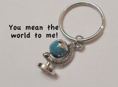 World Globe Keychain or Earth Keychain, Couples Key Rings, Best Friends, Mother…