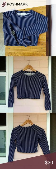 NWOT LONG SLEEVE CROP TOP *blue and white striped long sleeve crop *size small *new without tags *adorable top for any occasion  *comes from a Pet-FREE & Smoke-FREE home Tops Crop Tops