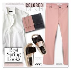 """""""Spring Trend: Colored Denim"""" by rosie305 ❤ liked on Polyvore featuring MANGO, J.Crew, Lanvin, H&M and coloredjeans"""