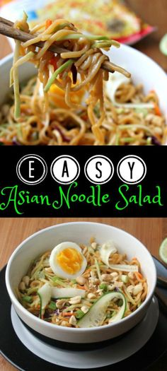 This EASY Asian Noodle Salad recipe pairs just a few common ingredients and packs a flavor punch! This recipe travels well so pack it up and bring it to work for lunch. Just be sure to label it, you don't want those co-workers stealing it!