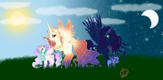 Queen Galaxia and King Cosmos with their daughter's Princess Celestia and Princess Luna