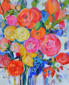Original abstract art Abstract floral Flower by garimadesigns, $185.00