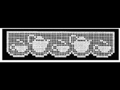 CENEFA  JUEGO DE TE  TAZA  PARTE# 2 Crochet Curtains, Tapestry Crochet, Crochet Doilies, Crochet Lace, Crochet Borders, Filet Crochet, Crochet Patterns, Crochet Kitchen, Chrochet