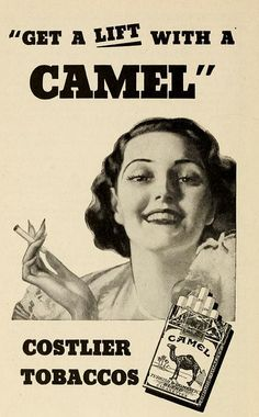 Advertisements from North Carolina State Government publications. North Carolina State Fair Premium List 1937. Camel cigarette ad.