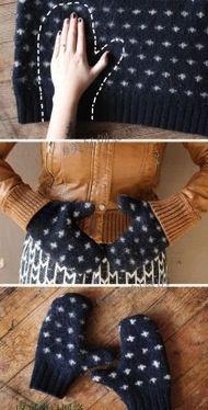 Use um casaco velho para fazer novas luvas neste inverno. #ficaadica