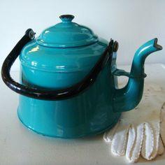 Awesome Enamel Ware Tea Kettle- Antique