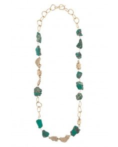 Kara Ross: Nugget and Cast Nugget Long Necklace, Gold with Emerald Agate