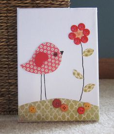 Children's Room Canvas Art, Nursery decor,  5 x 7, bird and flower, red and orange and olive, cute as a button. $16.00, via Etsy.