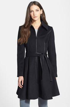 Free shipping and returns on Dawn Levy 'Fergie' Wool Blend Fit & Flare Coat at Nordstrom.com. A figure-flattering cut with princess seams, a belted waist and a twirling skirt define a soft wool-blend coat polished with faux-leather trim.