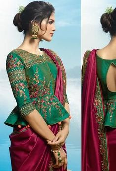 Maroon and Green Saree - Desi Royale Saree Blouse Neck Designs, Choli Designs, Bridal Blouse Designs, Sleeves Designs For Dresses, Stylish Blouse Design, Indian Fashion Dresses, Designer Blouse Patterns, Green Saree, Green Blouse