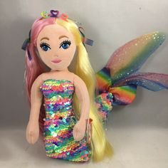 From the Ty Sea Sequins collection. Ty Beanie Boos, Princess Zelda, Disney Princess, Anastasia, Sewing Projects, Mermaid, Plush, Sequins, Dolls