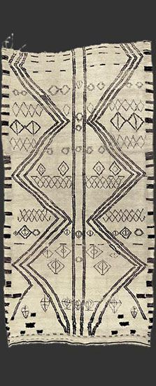 Carpet gallery with focus on vintage Moroccan Berber rugs such as Beni Ouarain / Ourain, Azilal, Ourika, boucherouite / boucharouette rugs. Fabric Rug, Textile Fabrics, Textile Patterns, Textile Prints, Textile Design, Textile Art, Fabric Design, Print Patterns, Tribal Patterns