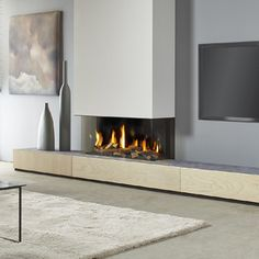 Living Room Wall Units, Living Room Modern, Home Living Room, Living Room Decor, Fireplace Tv Wall, Living Room With Fireplace, Fireplace Design, Minimalist Fireplace, Minimalist Home