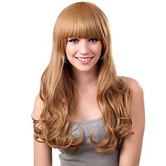 Capless Long Curly Brown alta qualidade peruca sintética estrondo completa – BRL R$ 54,77