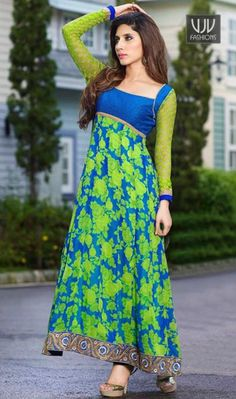 Sensible Embroidered Work Georgette Blue Salwar Kameez Women elegance is magnified tenfold in this style of a blue georgette anarkali salwar kameez. The pretty embroidered and patch border work a intensive characteristic of this attire.
