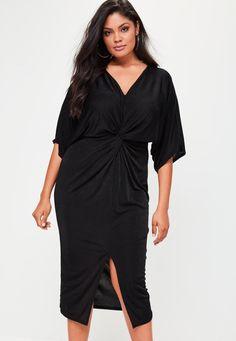Missguided - Curve Slinky Kimono Midi Dress Black
