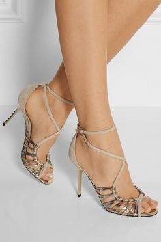 Jimmy Choo | Legia suede and metallic leather sandals