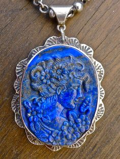 Hand carved Lapis Lazuli Goddess Pendant set in Sterling Silver
