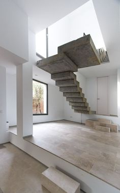 Floating Stairs by Ábaton Arquitectura - Love the Modern Architecture Floating Staircase, Modern Staircase, Staircase Design, Modular Staircase, Staircase Landing, Staircase Remodel, Staircase Ideas, Interior Stairs, Interior Architecture