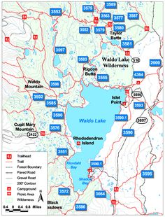 map of waldo lake area with trails and campgrounds