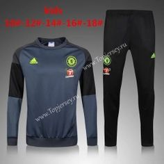 2016/17  Chelsea Round Collar Gray Kids/Youth Soccer Tracksuit