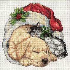 Puppy and Kitten Christmas Cross Stitch Kit.