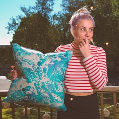 "Introducing our ""Splash"" cushion in Aqua. 50x50 digital print on a high grade cotton/linen blend with gunmetal metallic pipping ✔️ #cushions #love #homewares #interior #interiordesign #aqua #metallic #watercolour #gunmetal #gabeandnix #comingsoon"