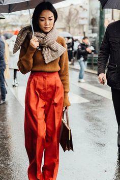 Orange Accents | Winter Outfit | Orange pants | Street Style | Paris Fashion Week | Visit Travelshopa