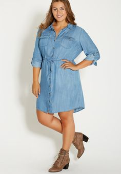 plus size chambray shirtdress in medium wash - maurices.com