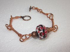 Brown  White and Red Handcrafted Lampwork by BlueberryBayBeads, $30.00