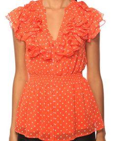 Ruffled Polka Dot Shirt  $17.80 orange and white
