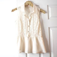 Cream Lace Peplum Blouse Cream Lace Peplum Top  * New without tags * Size Large * Button-up * Lace + peplum design  Closet Policies  ❌ No Trades  ❌ No ️️  ❌ No Holds  Please make all offers through the offer button  Tops Blouses