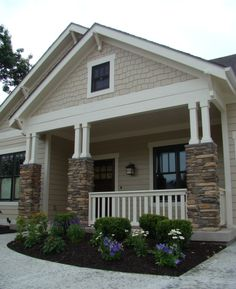 An idea for exterior paint colors, I would go even lighter on the greige, and I love the black window frames and front door.(bungalow exterior paint body color is SW 7512 Pavillion Beige and the trim is SW 6098 Pacer White) Exterior Design, Paint Colors For Home, Craftsman Bungalows, House Paint Exterior, House Painting, Craftsman House, House Designs Exterior, Exterior Paint Colors For House, Bungalow Exterior