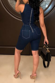 Lovely Casual U Neck Spaghetti Straps Deep Blue Denim One-piece Romper Cute Casual Outfits, Sexy Outfits, Casual Wear, Fashion Outfits, Summertime Outfits, Summer Outfits, Jumper Outfit Jumpsuits, Outdoor Fashion, Cute Rompers