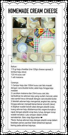 Donut Recipes, Raw Food Recipes, Sauce Recipes, Cooking Recipes, Home Made Cream Cheese, Make Cream Cheese, Western Food, Homemade Cheese, Indonesian Food