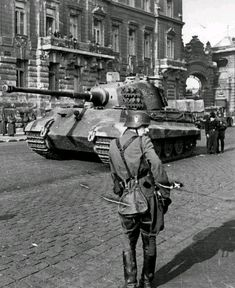 German King Tiger tank of the SS Panzer Division. The King Tiger was head and shoulders above anything that the Allies could field  except for the Soviet T34. The massive advantage in numbers of tanks, aircraft,  and equipment and the fact that the Tiger&King Tiger's dependability was suspect at best nullified any advantage the Germans had in technology
