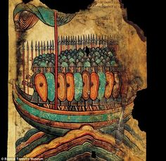 Illuminated vellum of a ship loaded with Viking warriors, from the Bayeux Tapestry Museum