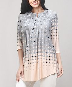 Loving this Gray & Pink Gradient Dot Notch Neck Pin-Tuck Tunic - Plus on #zulily! #zulilyfinds